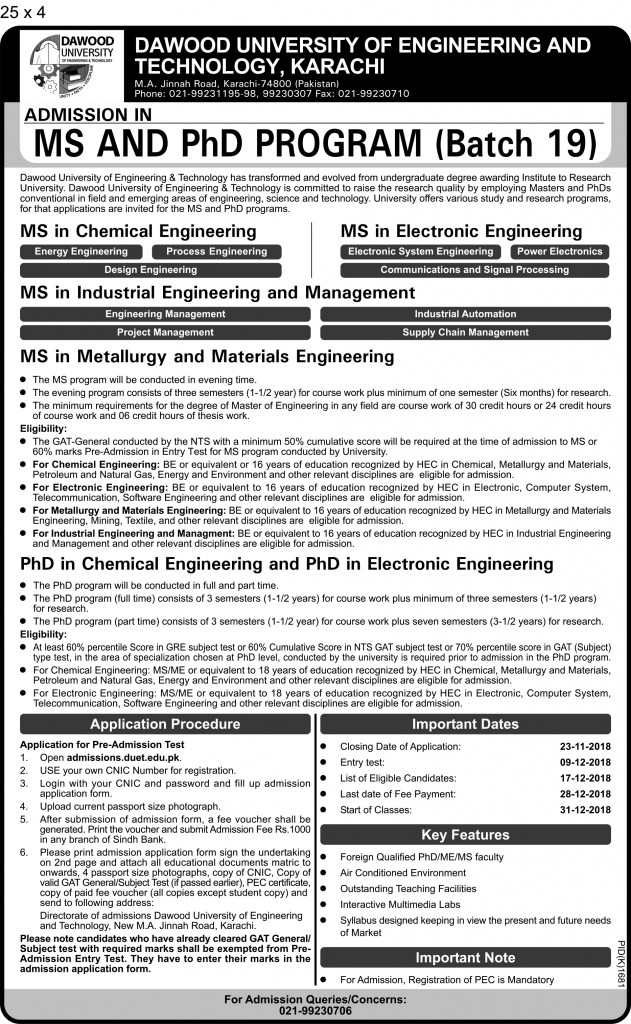 Final Admissions in MS & PHD (DUET) 25 x 4 pid-1681