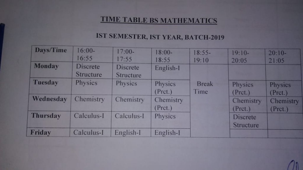 BS Mathematics Time Table