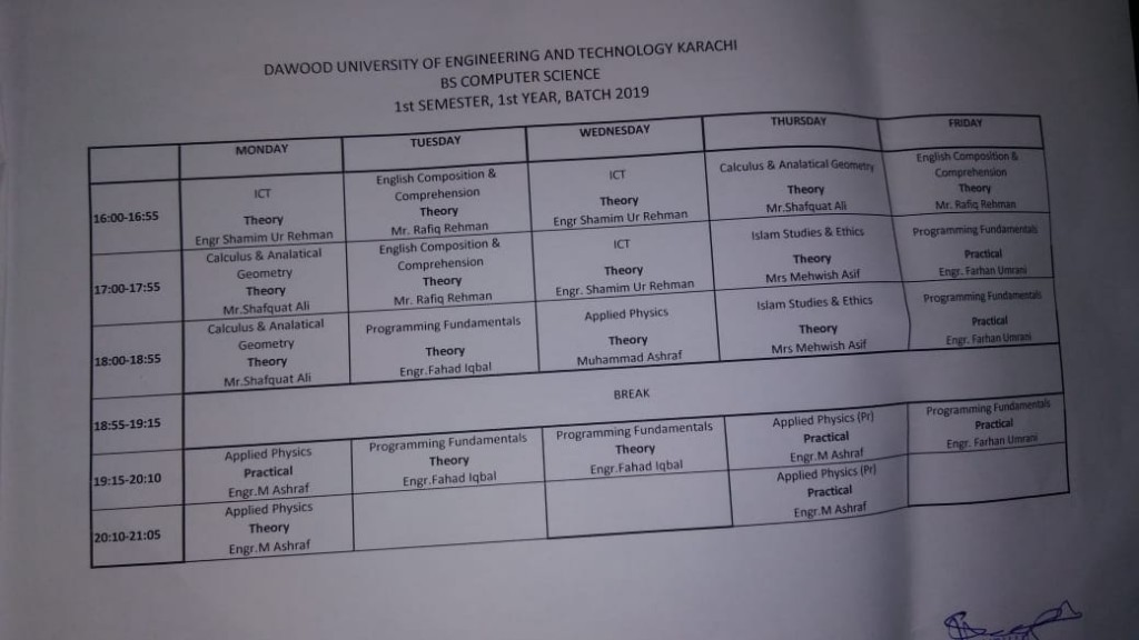 Time Table BS Computer Science