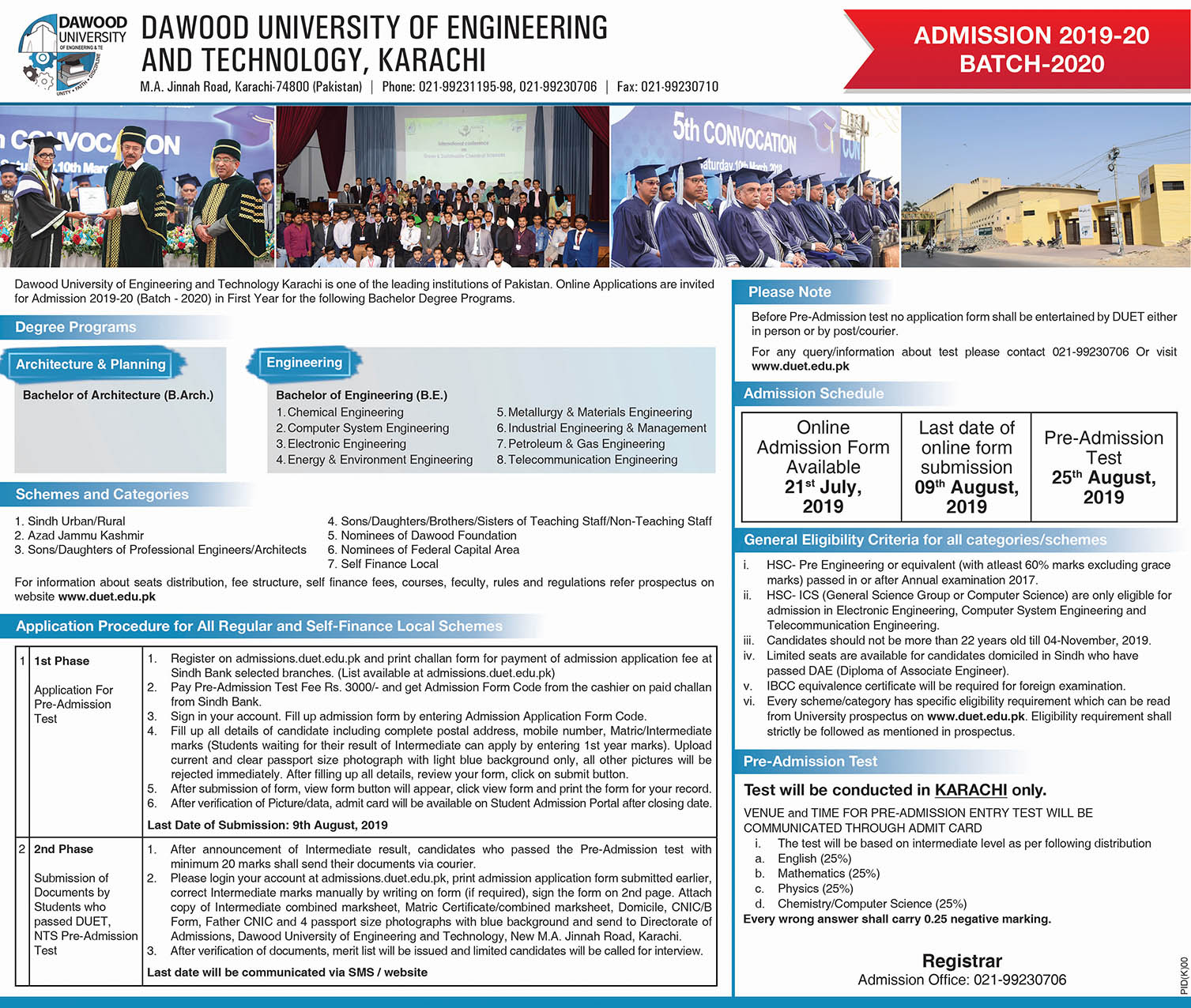 Admission sessions (2019-2020) | DUET | Dawood University of